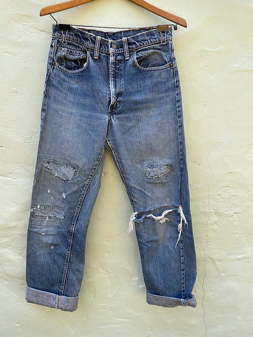 Vintage Levis 505 with Visible Mending 30x31
