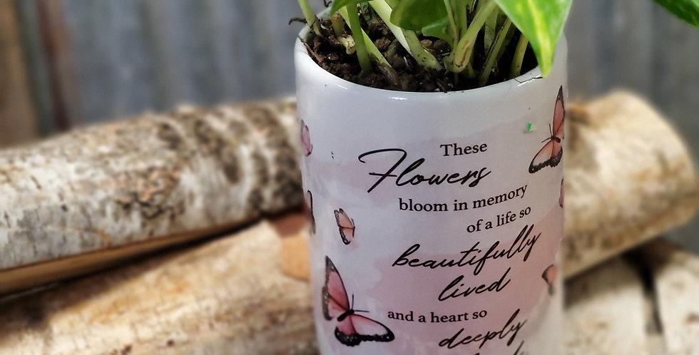 Sympathy vase with plant