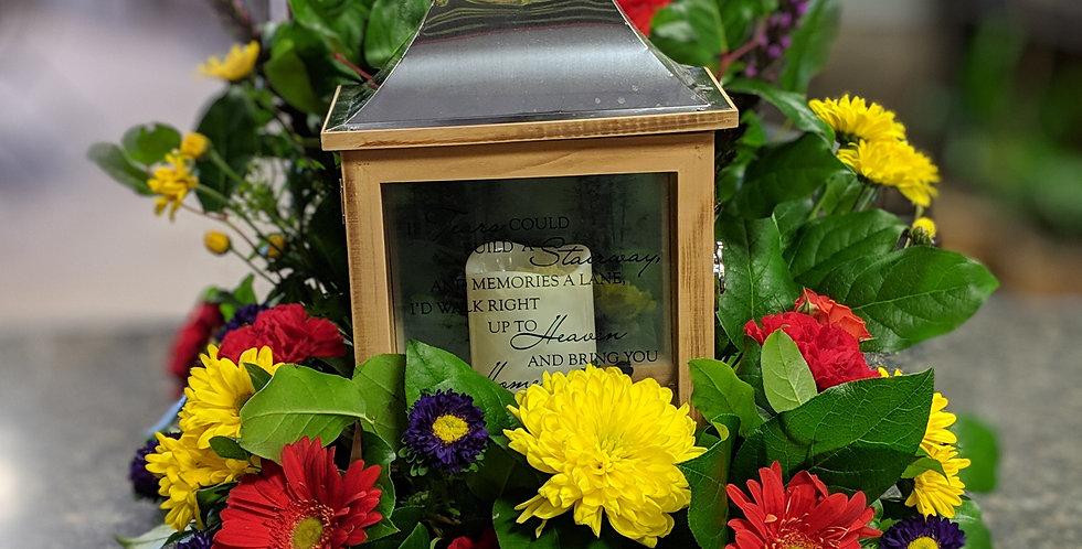 Lantern with Fresh seasonal Flowers