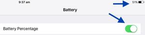 Battery Percentage On