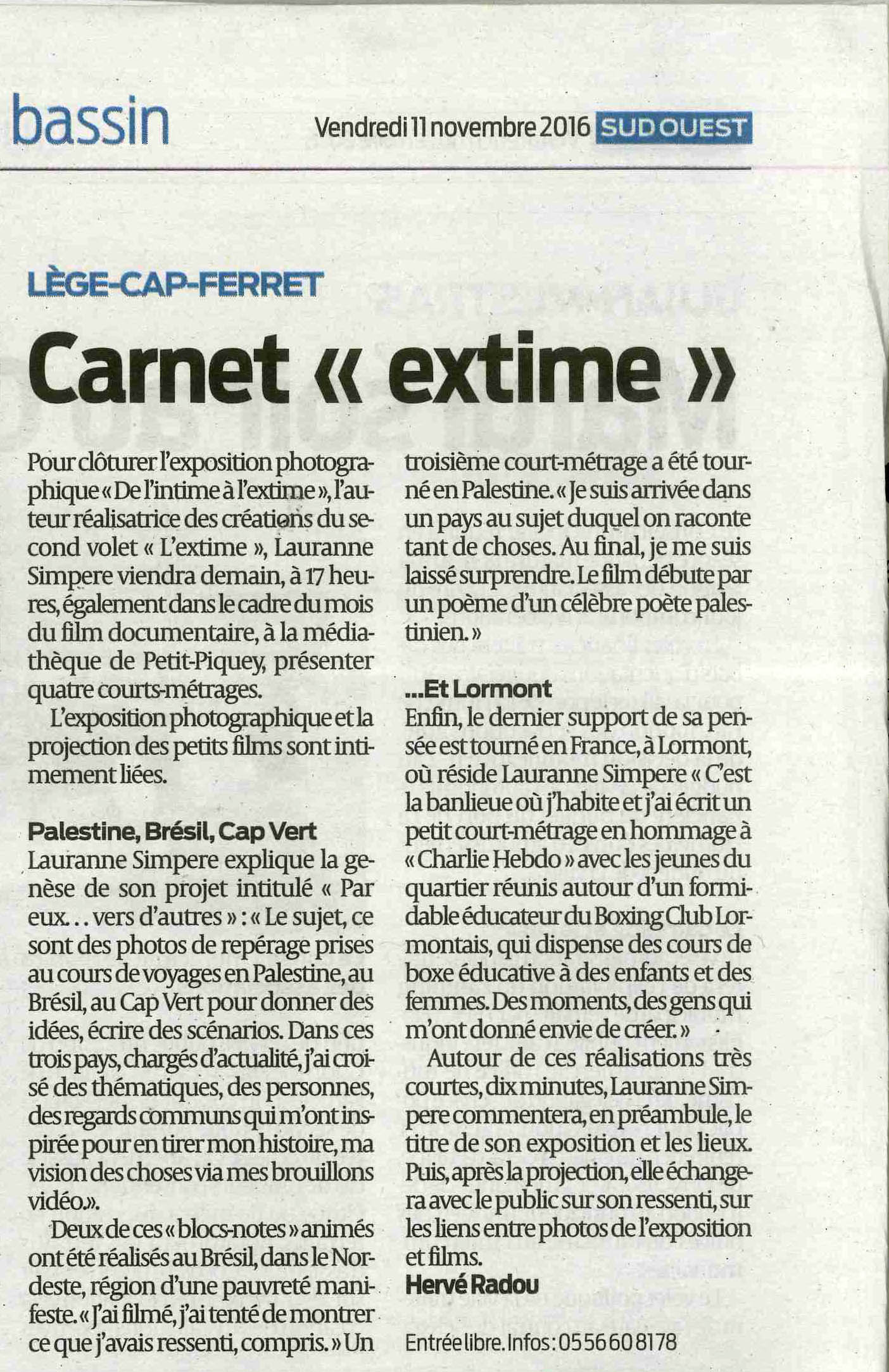 Article Sud Ouest Expo Lauranne Simpere