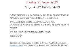 Ope dag 30. januar kl. 16:00 - 18:00
