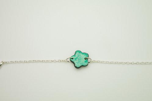 Bracelet EMAIL FLEUR argenté