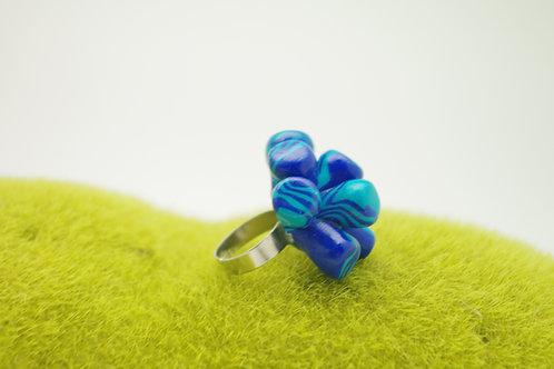 bague Grand modèle  ANEMONE bleu