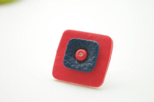 bague Grand modèle CARREE rouge et marine