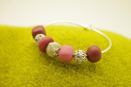 Bracelet JONC  perles bordeaux