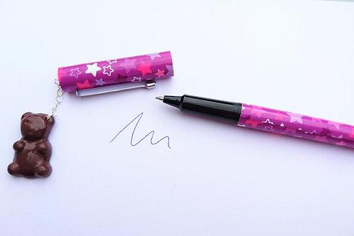 stylo rose/violet  breloque  nounours en fimo