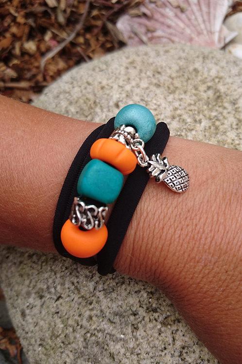 Bracelet 4 en 1 creapam en lycra noir et fimo Turquoise et orange ANANAS