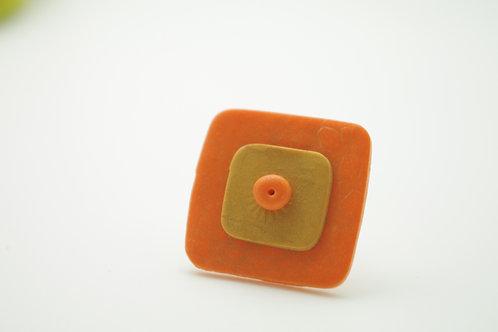 bague Grand modèle CARREE MARAKECH orange