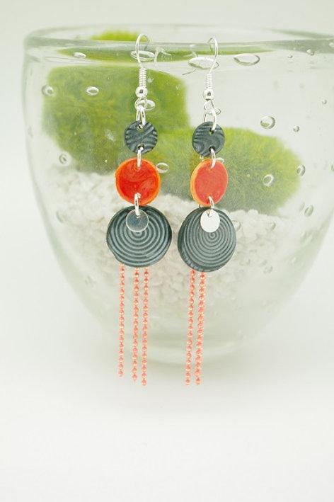 """boucles d""""oreilles APRIL gris et orange"""