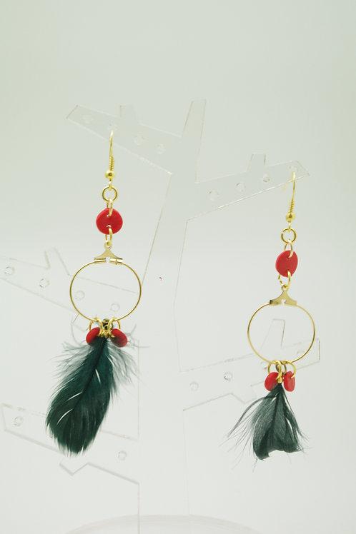 """boucles d""""oreilles PLUMES noir rouge et or"""