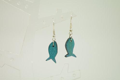 """boucles d""""oreilles FISH émail bleu"""