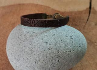 bracelet homme /femme fimo cuir marron