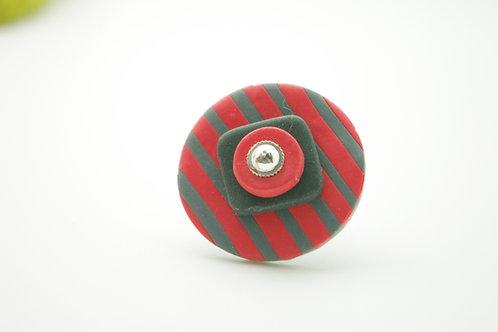 bague Grand modèle RONDE rouge et grise