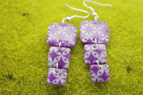 """boucles d""""oreilles CARREES violettes motif HAWAI"""