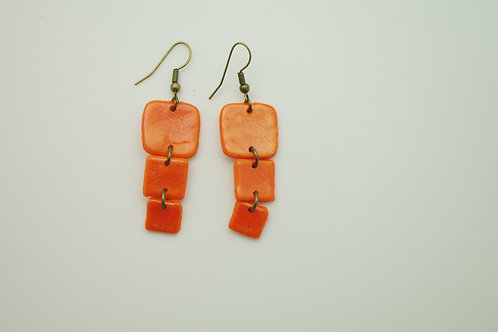 """boucles d""""oreilles PLATES effet émaillé orange"""