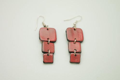 """boucles d""""oreilles 3 carrés EMAIL rouge"""