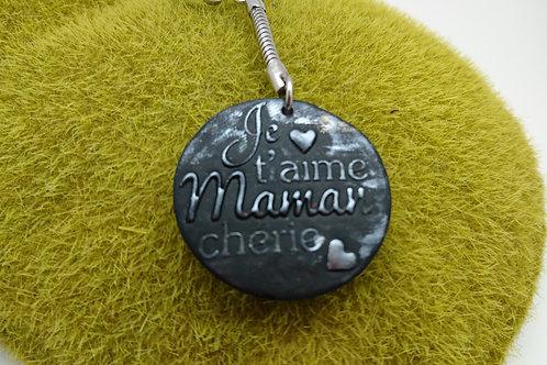 """porte clefs """"je t'aime maman chérie""""noir argent"""