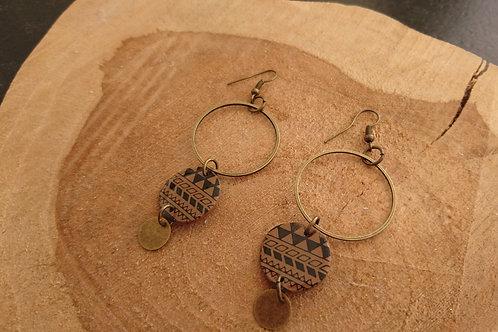 """boucles d""""oreilles TRIO bronze et marron"""