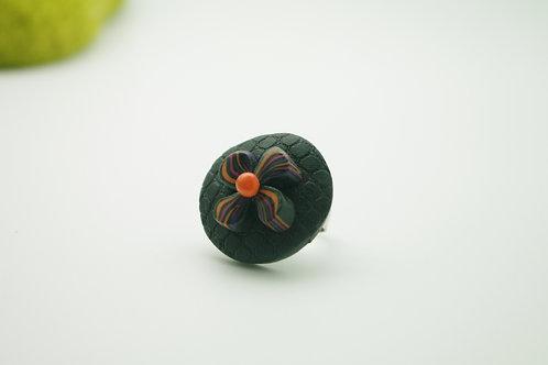 bague Grand modèle RONDE fleur noire et orange