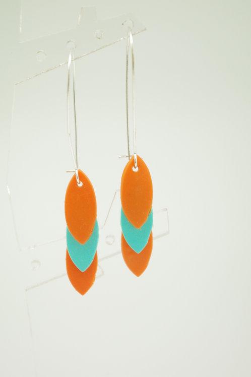 """boucles d""""oreilles LEAVES orange et turquoise"""