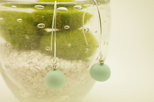 """boucles d""""oreilles VIP BOULE vert d'eau"""