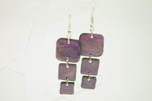 """boucles d""""oreilles 3 carrés EMAIL violet"""