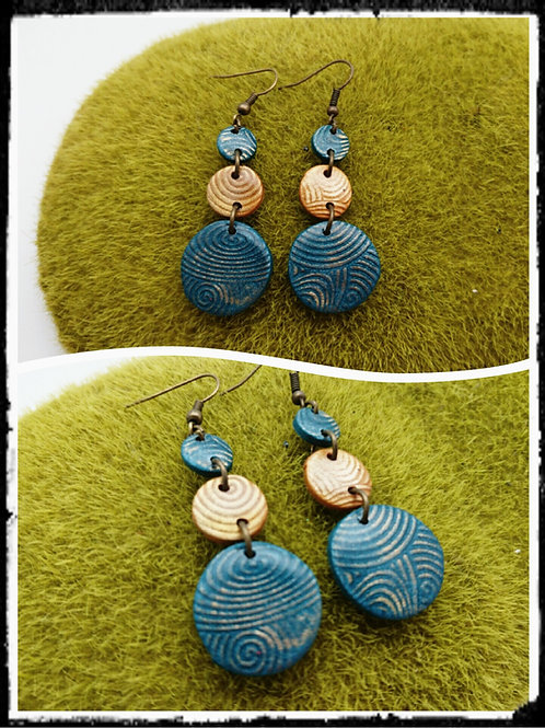 "boucles d""oreilles LUNA STRUCTURE bleu canard & or"