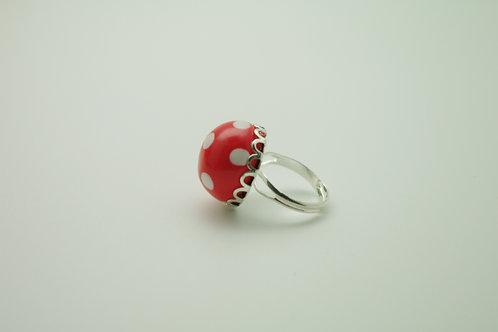 bague PETIT modèle BOULE rouge  pois blancs