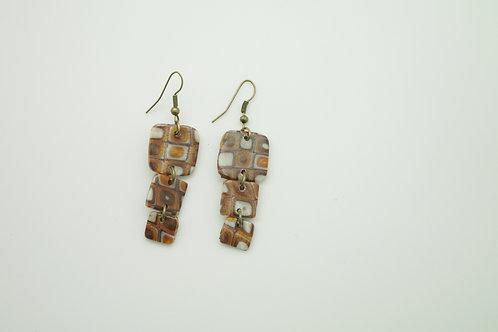 """boucles d""""oreilles PLATES carrés marron"""