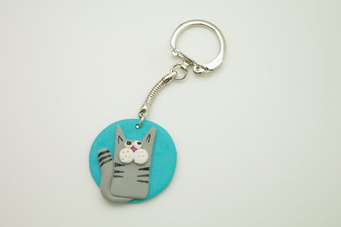 porte clefs CHAT turquoise