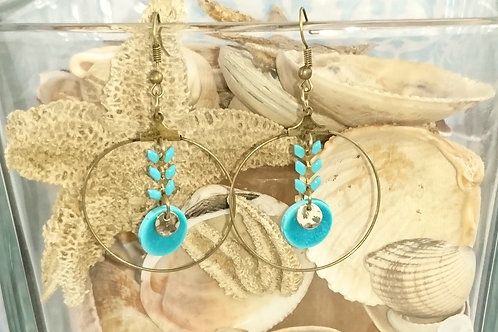 "boucles d""oreilles RINGS ELO bleu et bronze"