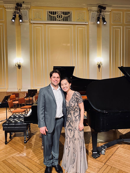 With my wife Heeyeon Chi after Mozart Double Piano Concerto at NEC