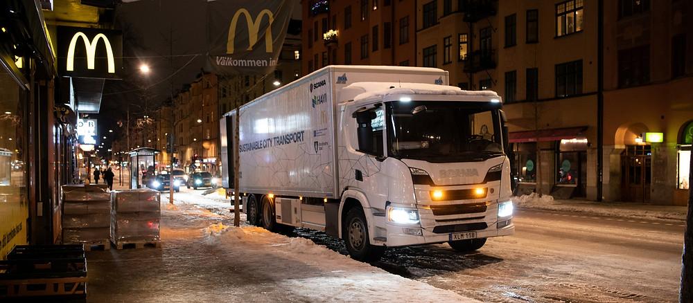 hybrid scania mcdonalds truck trial
