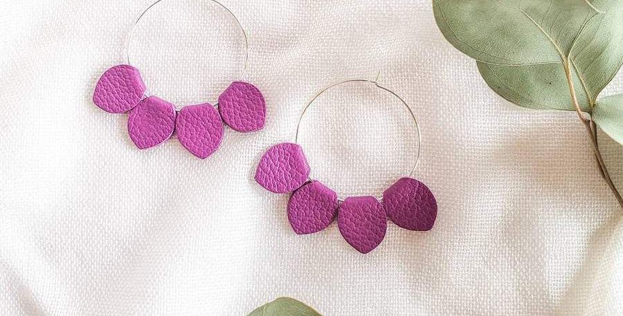 Berry Purple Leather Petal Hoop Earrings