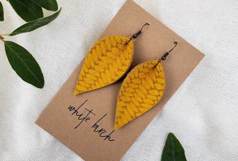 White Birch Handmade Leaf Earrings - Goldenrod Yellow