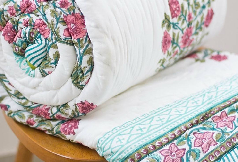 Reversible Blockprinted Quilt Queen