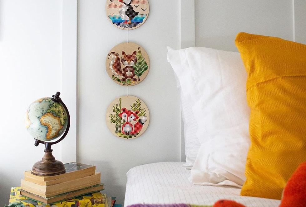 Wood Disc Cross Stitch Kits