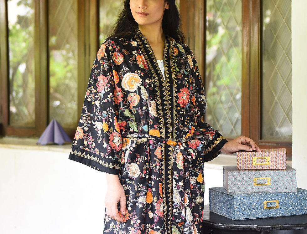 Floral Black Kimono