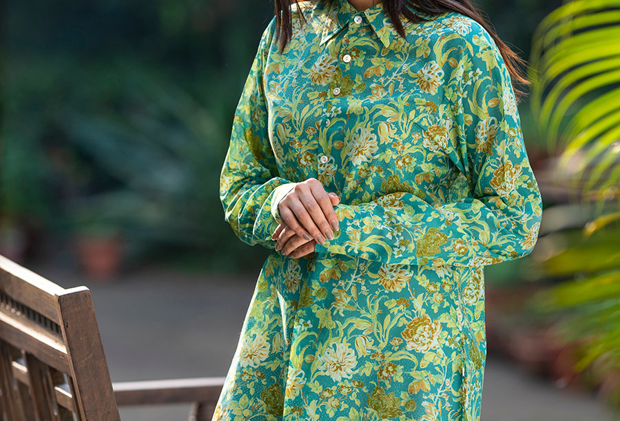 Tropical Green Nightshirt / Tunic