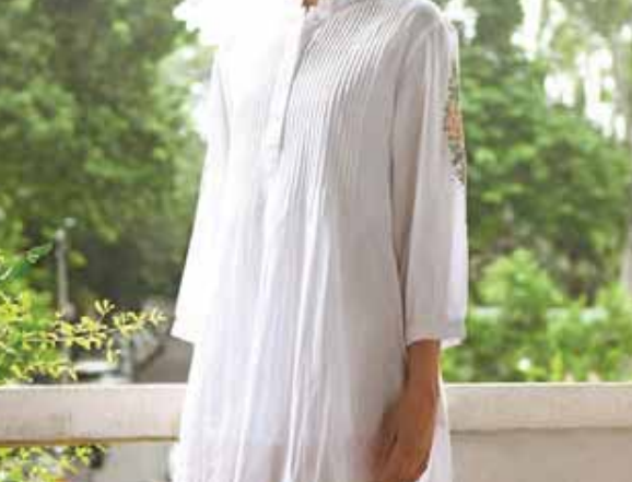 Tunic Nightdress with Sleeve Embroidery