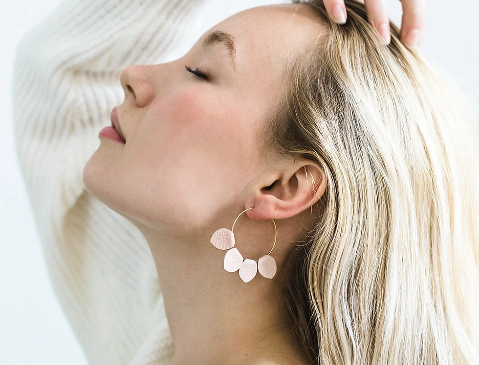 White Birch Handmade Petal Earrings