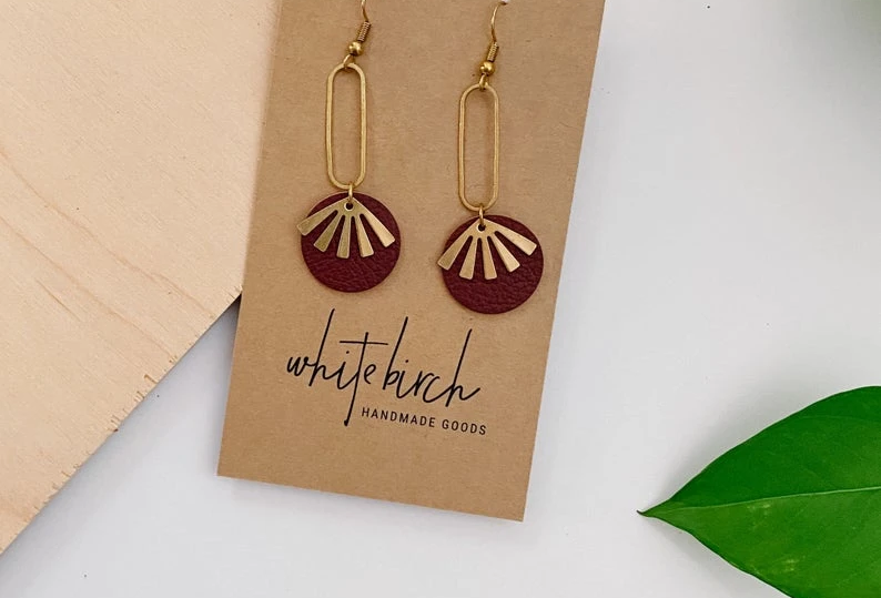 White Birch Handmade Geometric Earrings