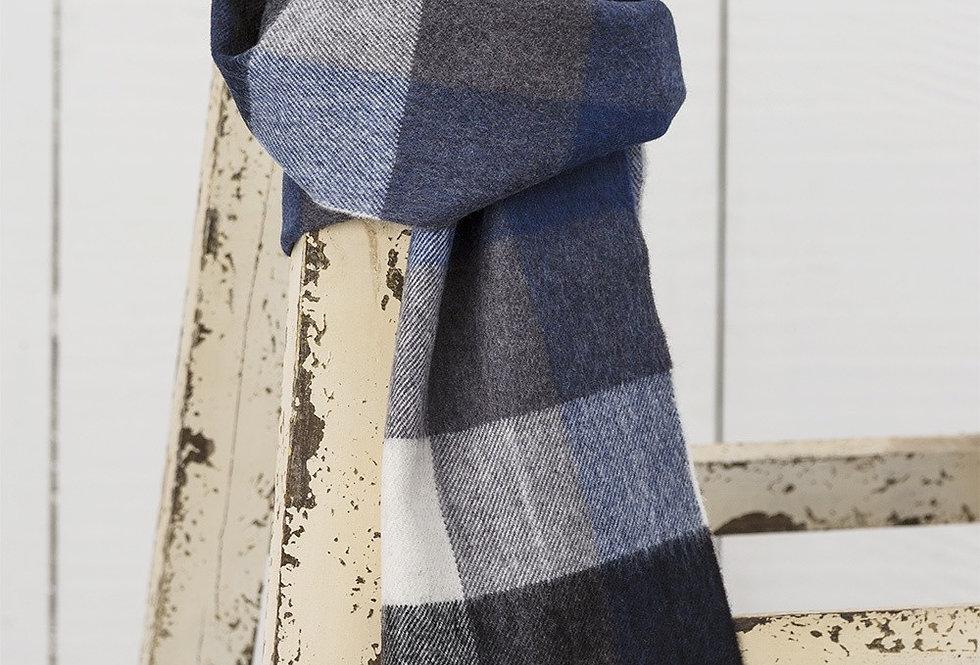 Navy & Grey Check Merino Wool Scarf