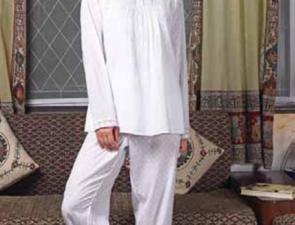 Swiss Dot White Cotton Pajamas