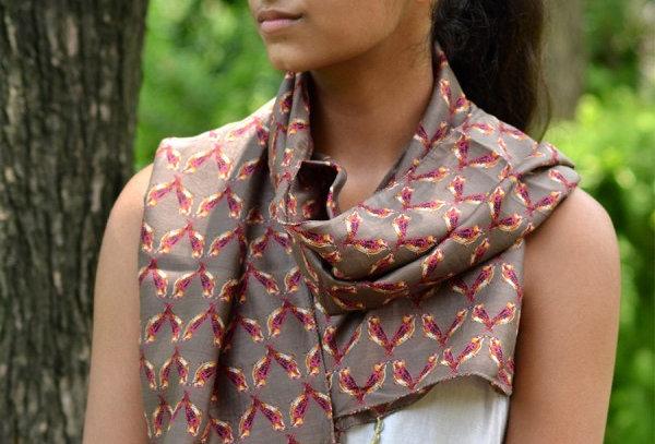 Chanderi Silk Handprinted Scarves