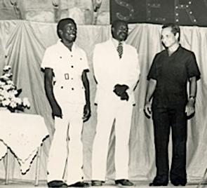 Carl Weekes, Wes Hall, and Fr. Gerard Pantin