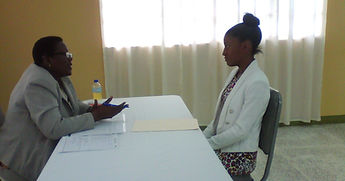 Servol Mock interview. Trainee interviewed by a representative from Ministry of Labour & Small and Micro Enterprise  Development