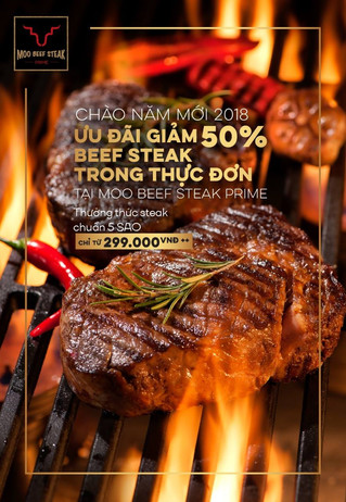 CELEBRATE 2018 with 50% DISCOUNT from all steaks on the menu at MOO BEEF STEAK PRIME