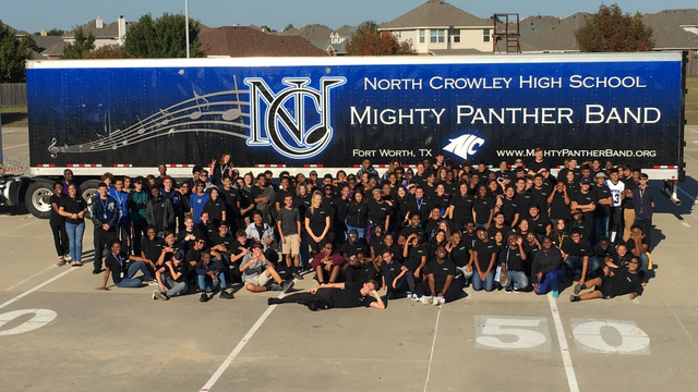 North Crowley Band Trailer and Students